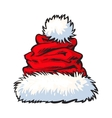 red Santa Claus hat isolated on white background vector image vector image
