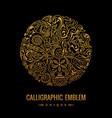 round logo golden elegant calligraphic vector image vector image