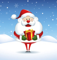 Santa Claus with box gift in Christmas snow scene vector image