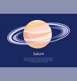 saturn with huge ring around on informative poster vector image vector image
