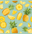 seamless pineapple fruit tropical pattern tropic vector image
