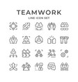 set line icons teamwork vector image vector image