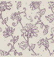 sketchy drawing floral seamless pattern vector image vector image
