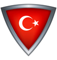 steel shield with flag turkey vector image vector image