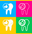 Tooth sign with thumbs up symbol four styles of vector image