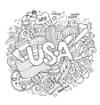 USA hand lettering and doodles elements background vector image vector image