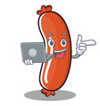 with laptop sausage character cartoon style vector image vector image