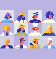 women worker diverse character set isolated vector image