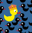 Yellow rubber duck in Crown Black Duck around a vector image