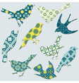 Birds Collection - background tiles vector image