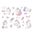 cute unicorn characters with magical things vector image