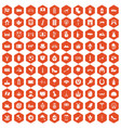 100 europe icons hexagon orange vector image vector image