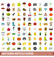 100 farm article icons set flat style vector image vector image
