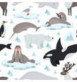 arctic animals pattern children animal antarctic vector image vector image
