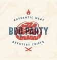 bbq party vintage label card emblem or vector image vector image