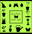 black silhouettes of garden icons set isolated on vector image