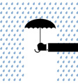 black umbrella protects from rain vector image vector image