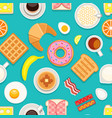 breakfast seamless texture different meals and vector image