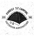 camping tent vintage monochrome emblem vector image