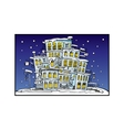 cartoon night city coated by snow vector image