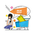 character woman with shopping online icons vector image vector image