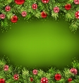 Christmas Banner with Fir Sprigs and Glass Balls vector image vector image