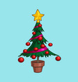christmas cartoon icon - small xmas tree in a pot vector image vector image