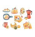 classic breakfast dishes set brunch or breakfast vector image