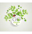 Clean white label with green leaves for organic vector image vector image