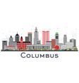 columbus ohio skyline with gray buildings vector image