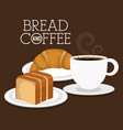 delicious breads and coffee label vector image vector image