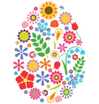 Flowers easter egg vector image vector image
