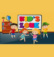 four happy kids in the classroom vector image