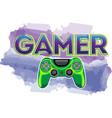 gamer message in cartoon style joystick vector image vector image