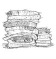 hand drawing of stack of towels vector image