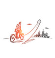 hand drawn man going up on bicycle vector image vector image