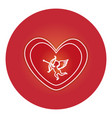 heart love card with cupid angel vector image