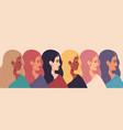 international women day women profile faces vector image vector image