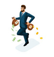 isometric businessman runs runs away loses money vector image vector image