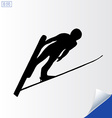 Jumping skier silhouette on white background vector image vector image