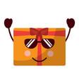 kawaii gift box with sunglasses cartoon vector image