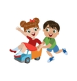Kids Playing With Toy Truck vector image vector image