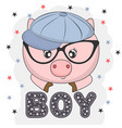 lovely pig face in glasses vector image vector image
