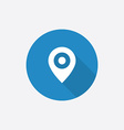 map pin Flat Blue Simple Icon with long shadow vector image vector image