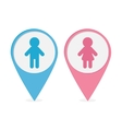 Map pointer Man Woman icon Pink and blue round vector image vector image