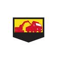 Mechanical Digger Loading Dump Truck Shield Retro vector image vector image