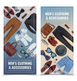 men accessories vertical banner set vector image vector image
