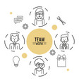 monochrome infographic of team work with half body vector image vector image