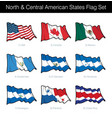 north and central american states waving flag set vector image