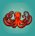 octopus engraving vintage color engraving color vector image